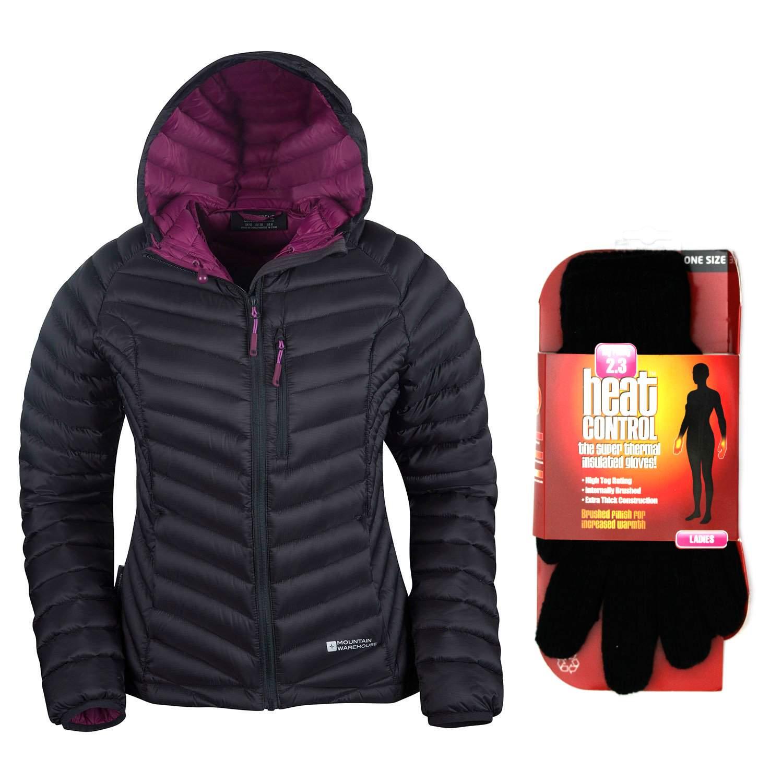 MW Womens Charcoal Grey Haraz Hydrophobic Down Jacket Coat with Gloves UK 8