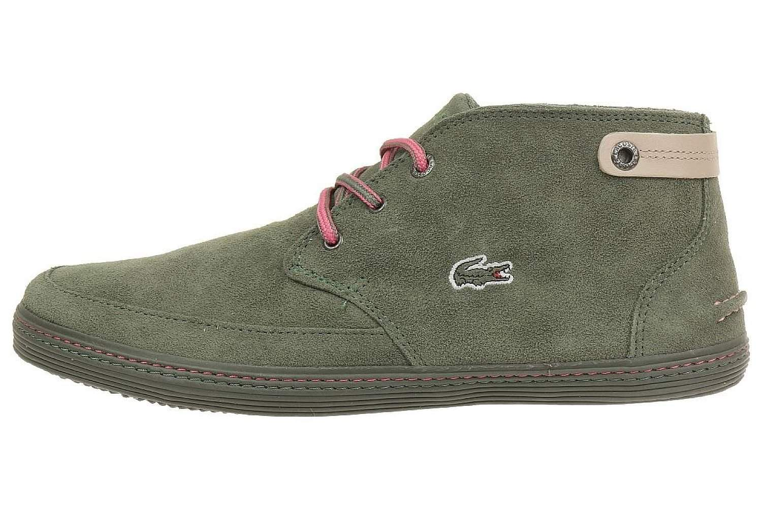 fed7b9281 Lacoste Womens Khaki Green Pink Suede Clavel Trainers Shoes
