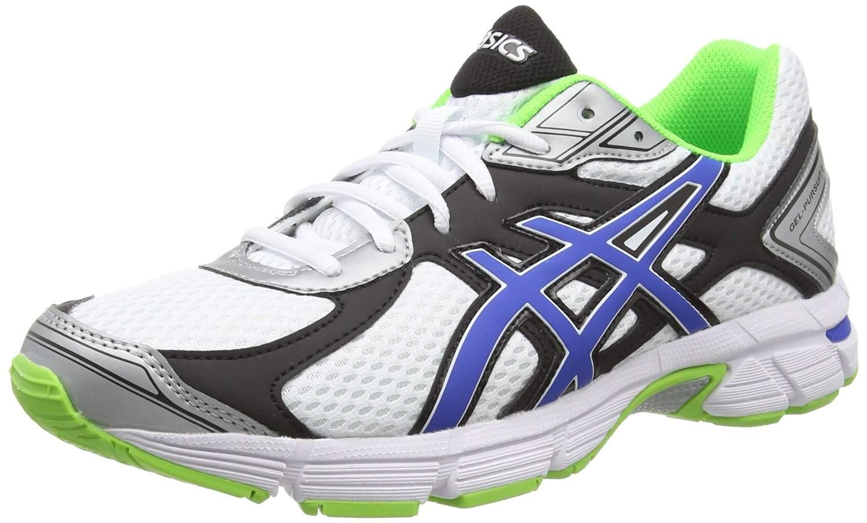 plus de photos abb5c 85655 Details zu Asics Mens White Blue Flash Green Gel-Pursuit 2 Trainers [T4C4N]  UK 6.5 EU 40.5