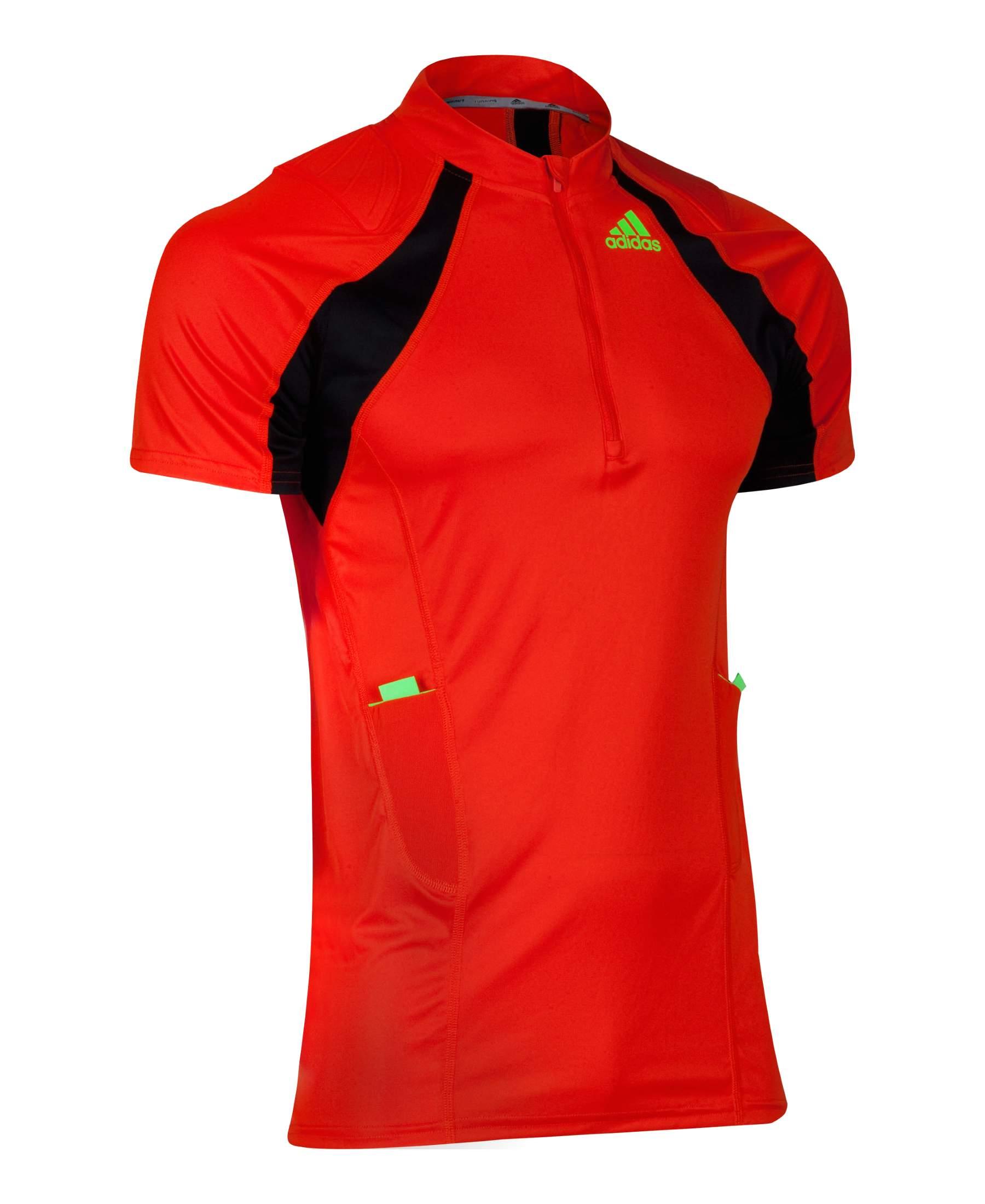 Hola Pickering Miedo a morir  Adidas Para Hombre Naranja Negro Trail Run 1/2 Cremallera Manga Corta  Camiseta | eBay