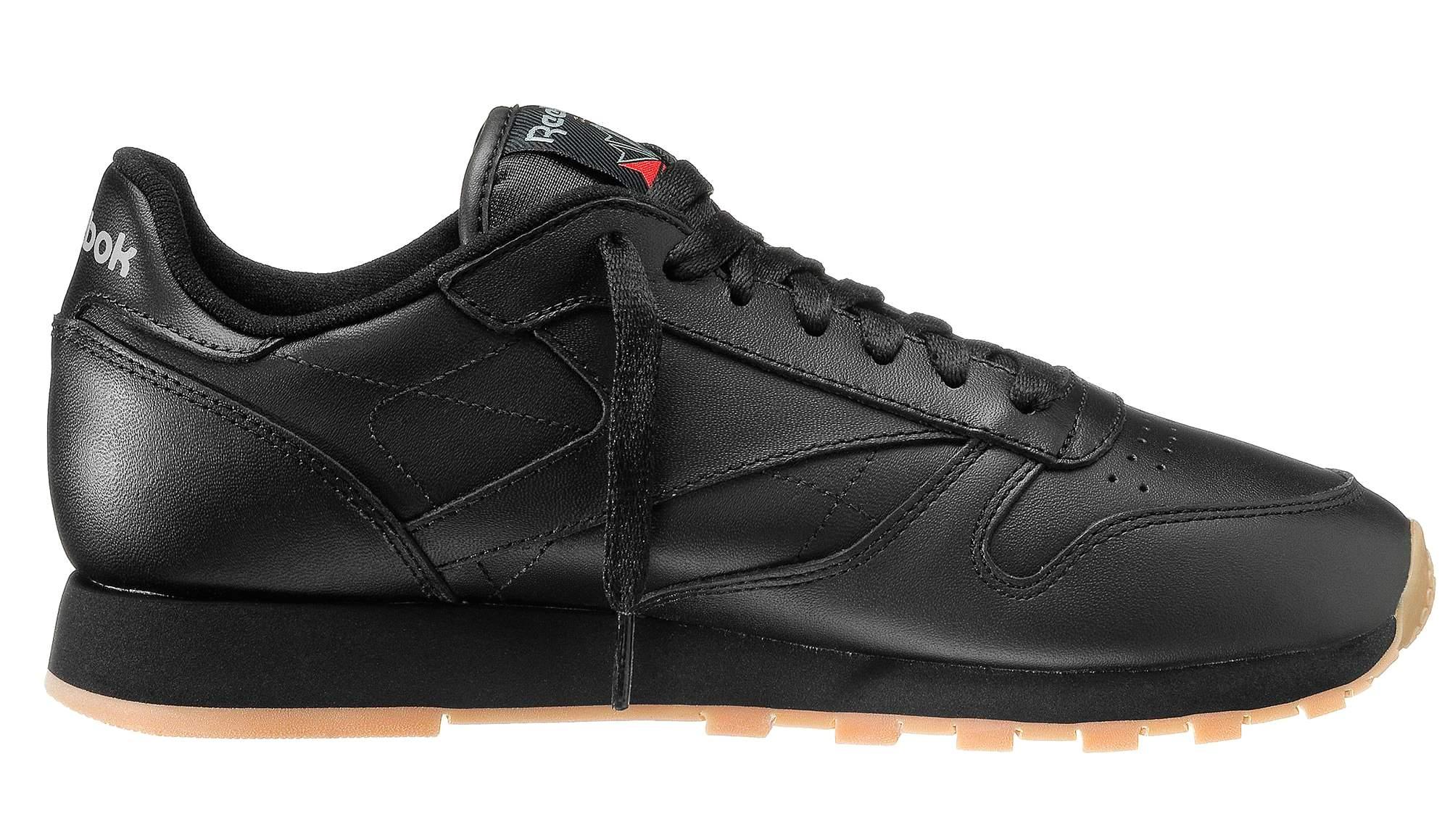 051bc96fdf9 Details about Reebok Boys Black Gum Classic Leather Trainers Shoes  49800   UK 3 EU 34.5