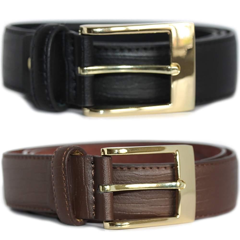 "New Mens Milano Branded Black Brown 1.5/"" Wide Bonded Leather Trouser Belt"