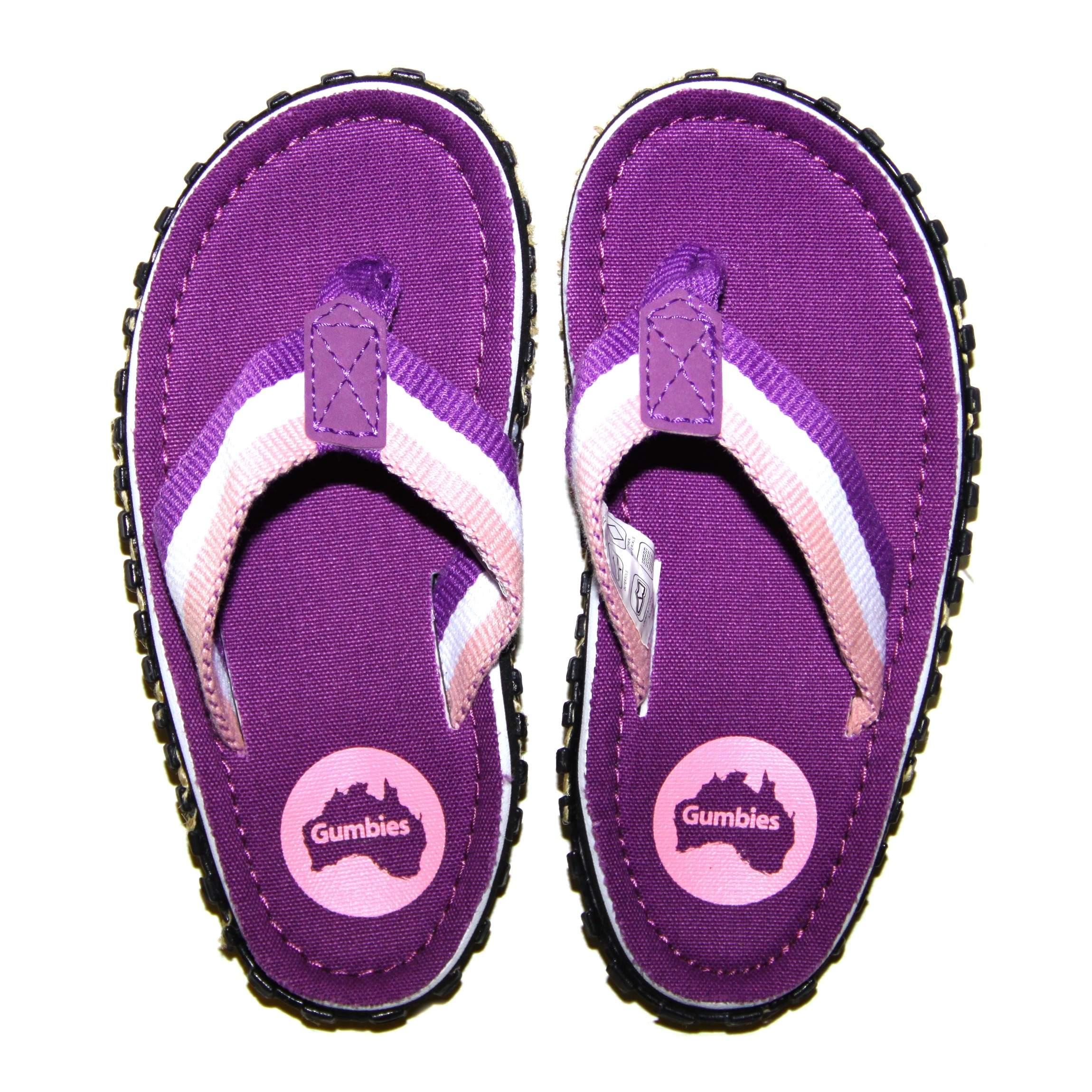 BNWT New Girls Purple Gumbies Islander Flip Flops Sandals Size 1