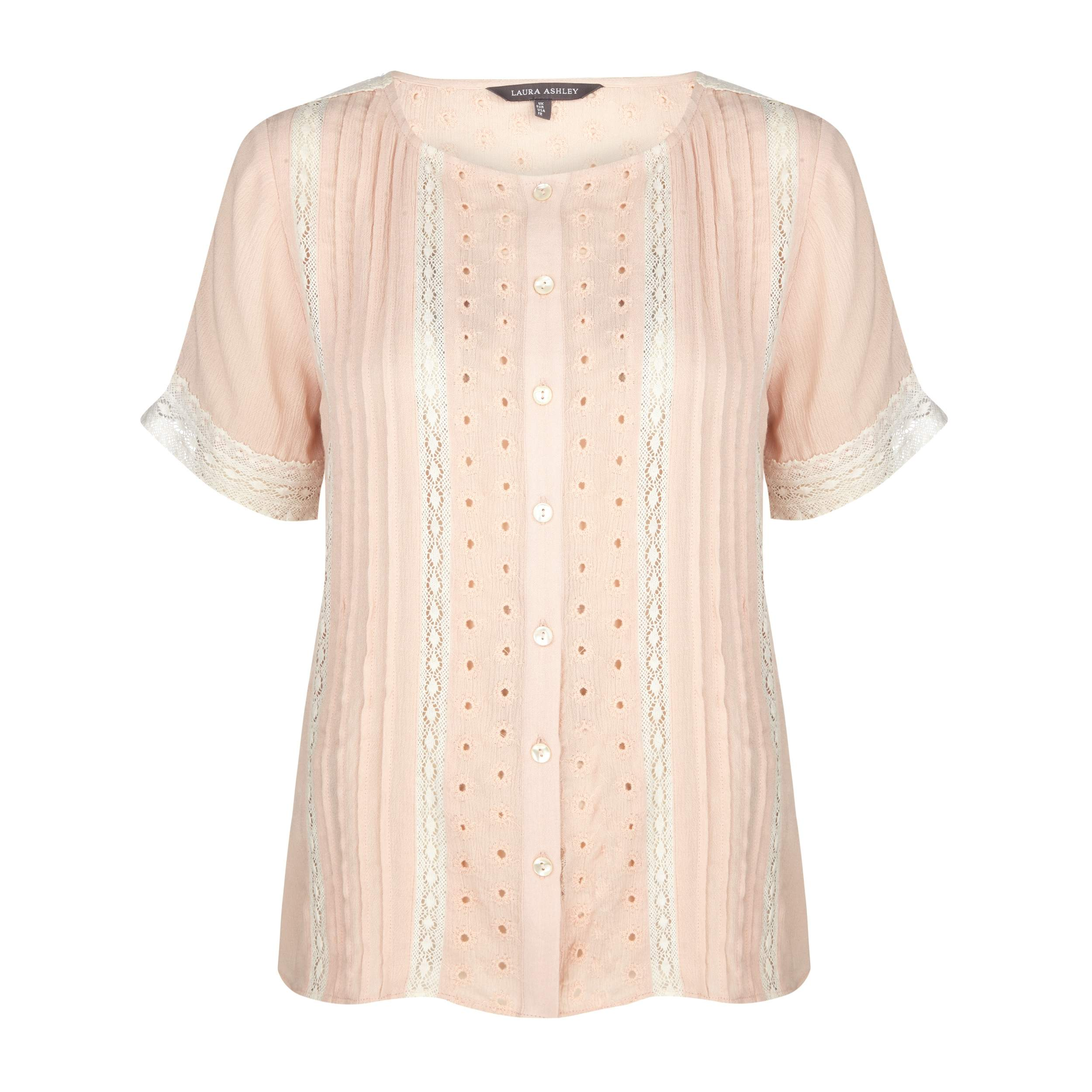 laura ashley womens pink lace and broderie button up blouse bl322 uk 14 eu 40 ebay. Black Bedroom Furniture Sets. Home Design Ideas