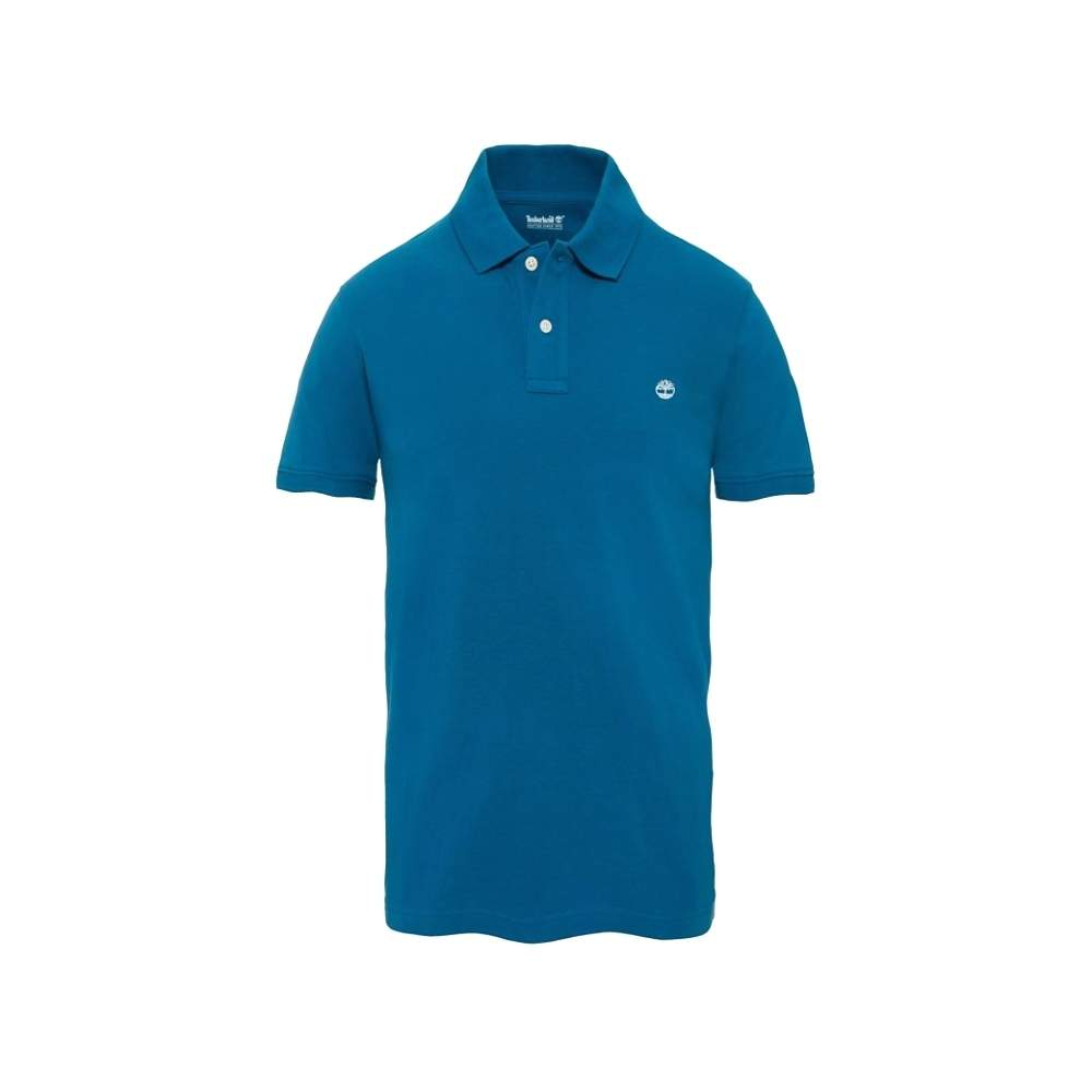 8757J Timberland Mens Lyons Blue Millers River Slim Fit Pique Polo Shirt