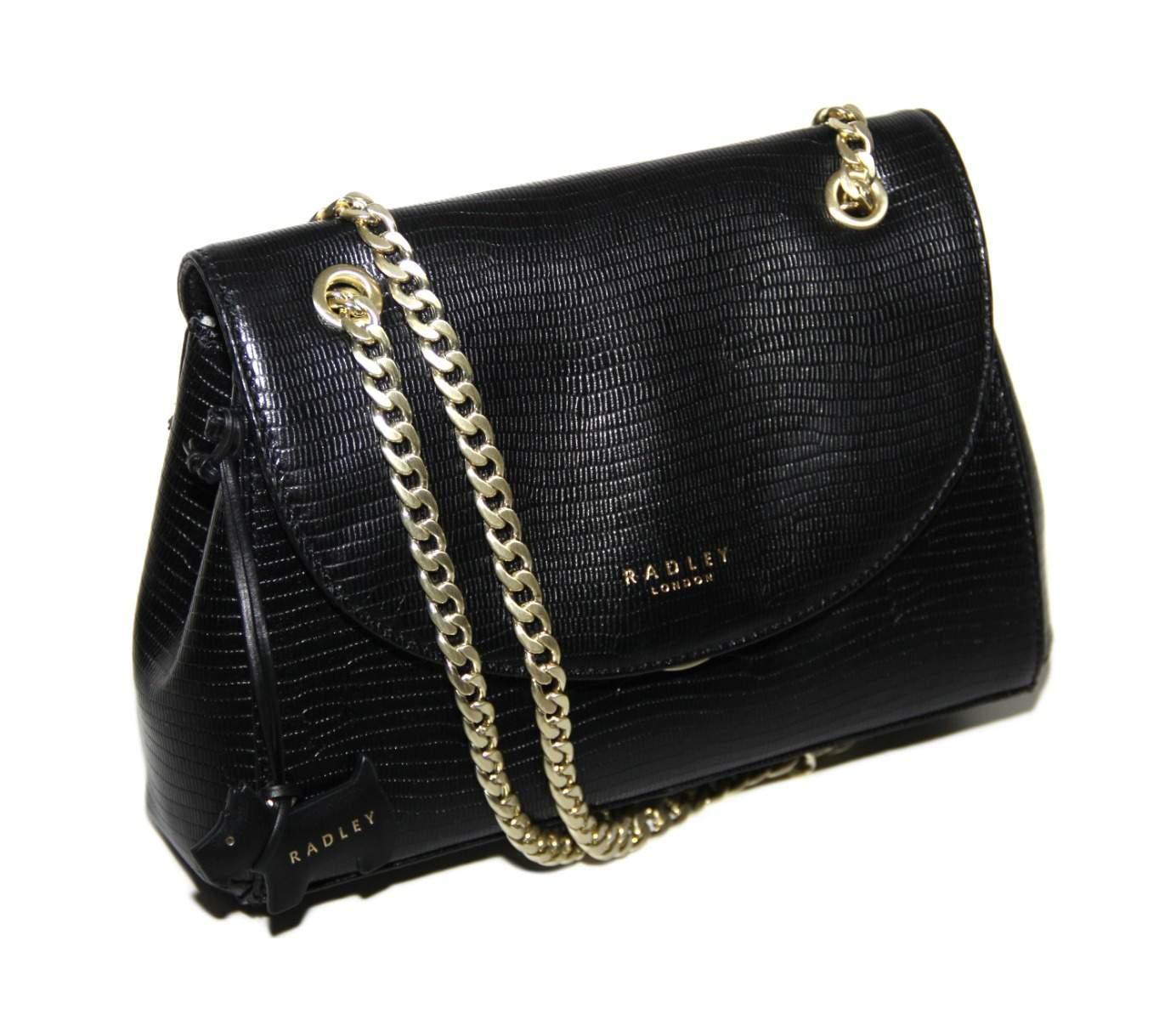 Details about Genuine Radley Womens Black Waterloo Medium Flapover Cross Body Bag Handbag
