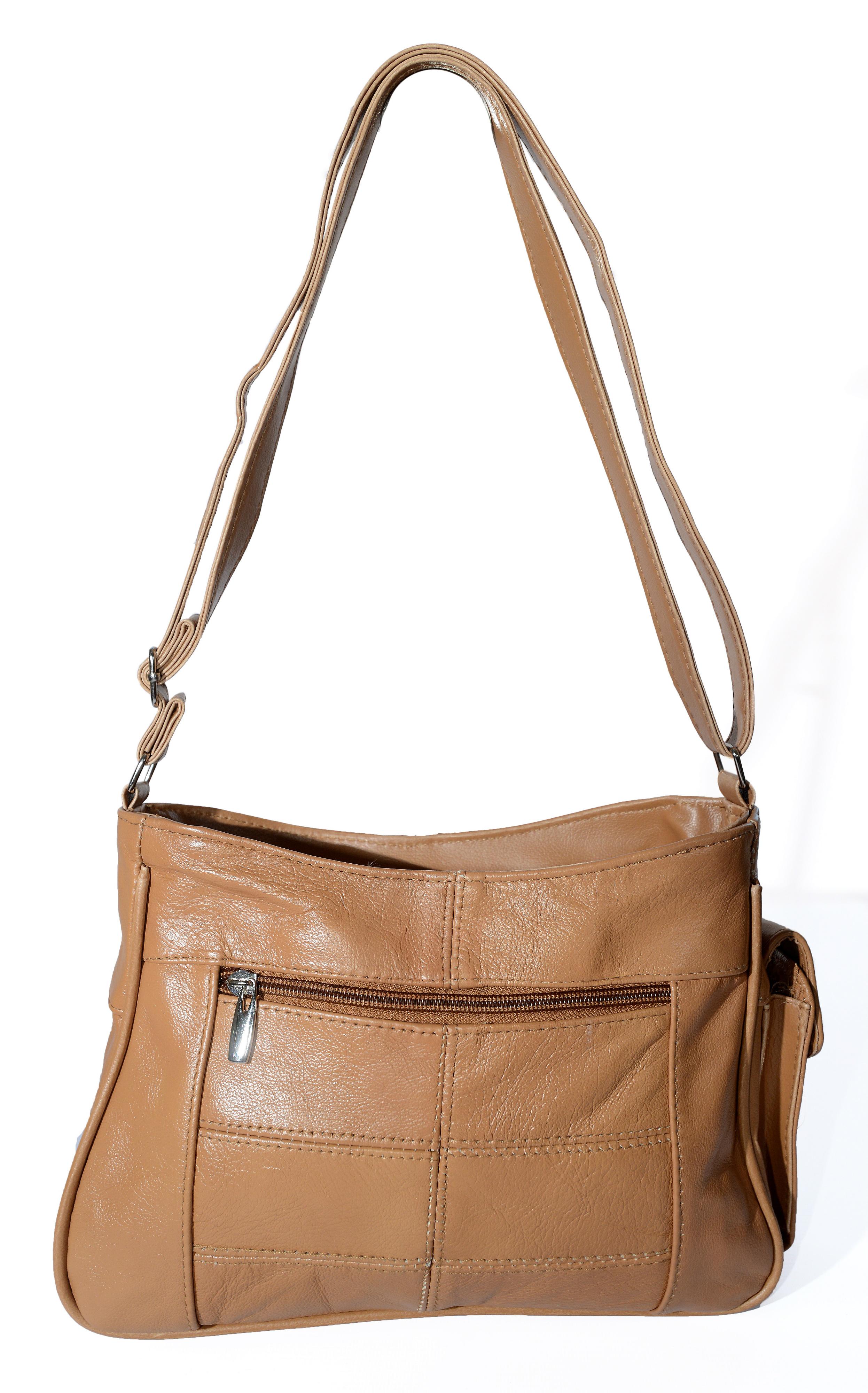 Lorenz Womens Dark Tan Brown Pleated Real Leather Shoulder Bag Handbag